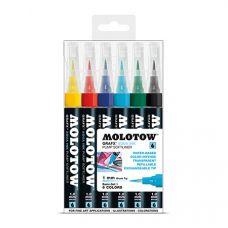 Molotow Набор маркеров Graf-X AQUA 6шт пластик.упак. перо кисть 1мм